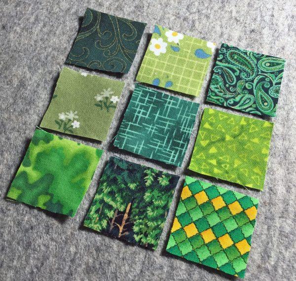 Shamrock Table Runner-arrange scrap squares into a 9-patch block