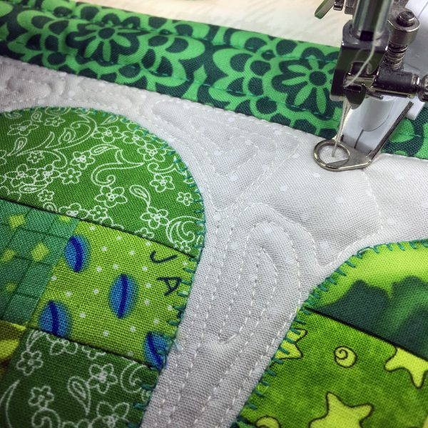 Shamrock Table Runner-fill in with some free-motion stitches