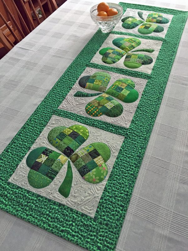 Shamrock Table Runner-Shamrock Table Runner-fill in with some free-motion stitches