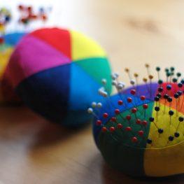 Paper pieced color wheel pincushion tutorial