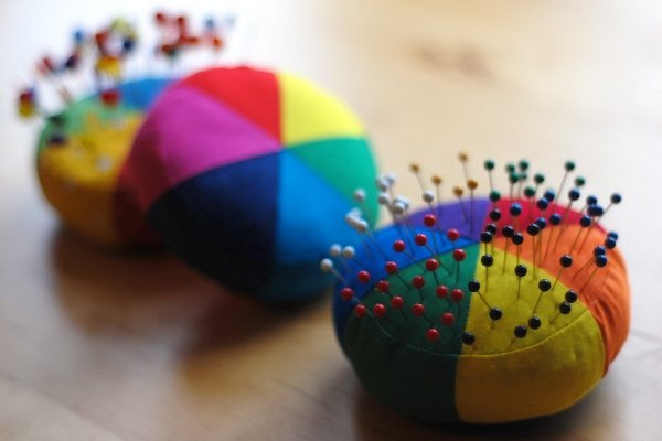 Paper pieced color wheel pincushion tutorial
