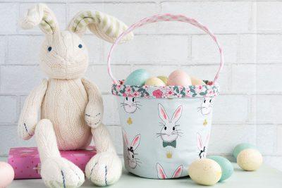 Easter Basket Sewing Pattern by Melissa Mortenson of polkadotchair.com using Wonderland Two Fabrics