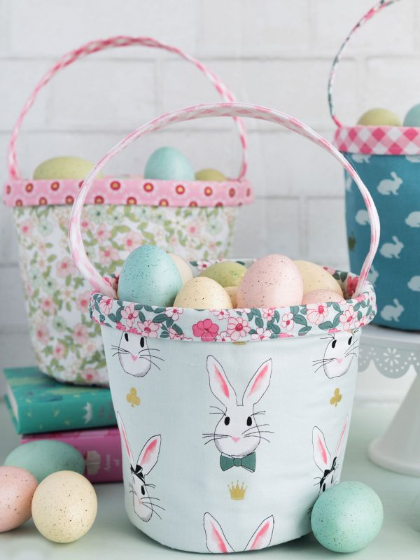 Easter Basket Sewing Pattern by Melissa Mortenson of polkadotchair.com using Wonderland Two Fabrics