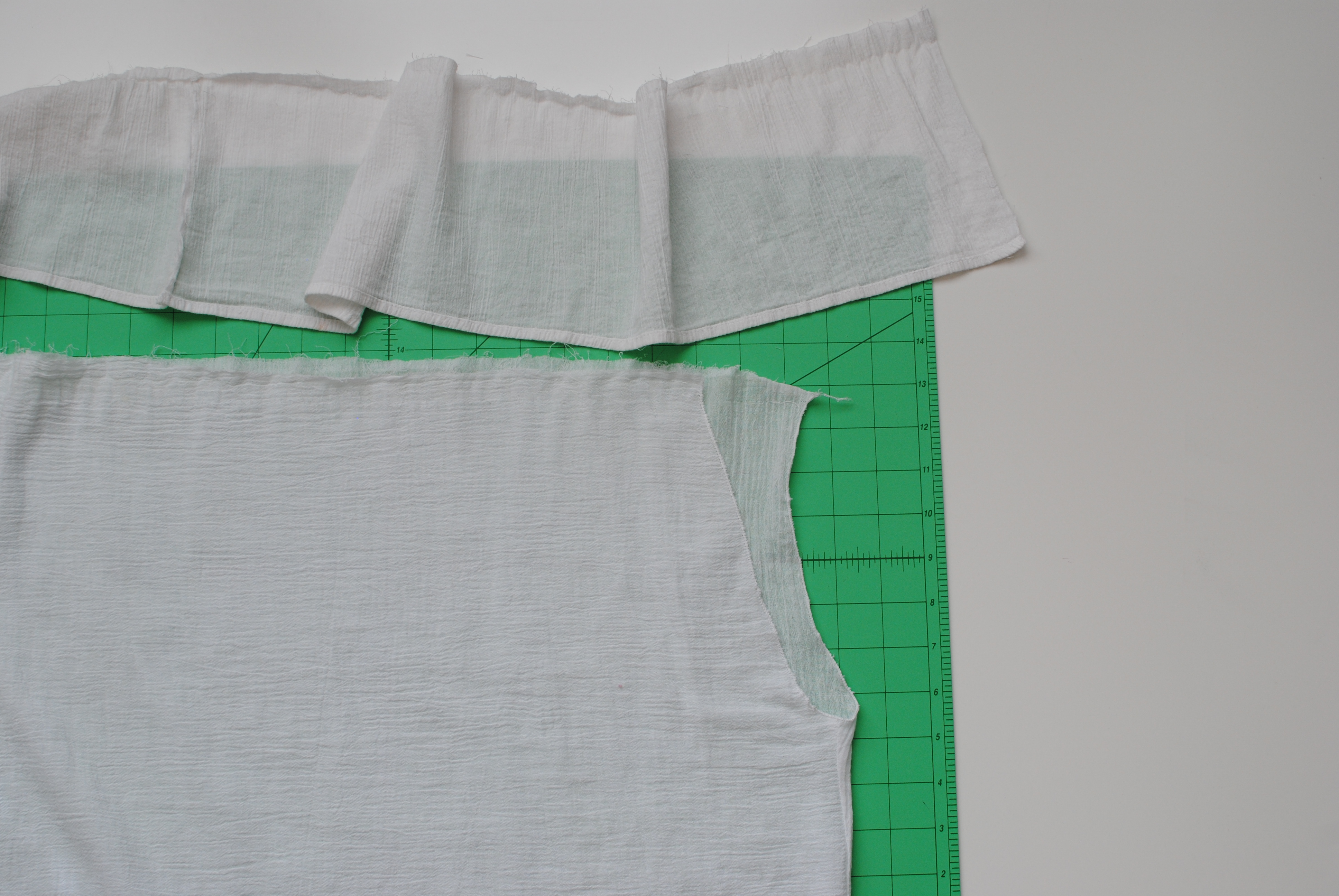 2d0add895333e Cut a strip of fabric for the ruffle that is double your shoulder  circumference for the width and 8 inches for the length.