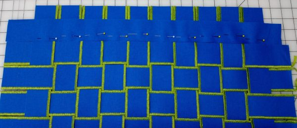 Flange Pillow Tutorial-Insert the remaining weft strips