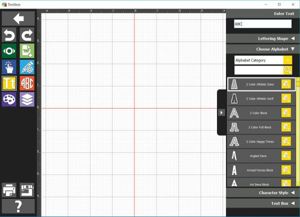 Open Lettering Module on Toolbox Software