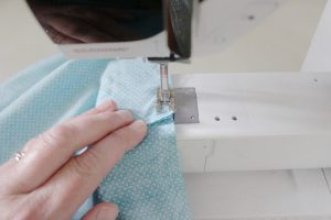step six: sew the side of the inside piece together