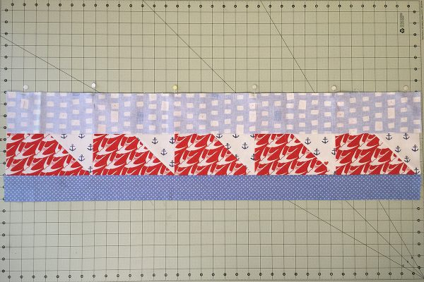 SeaBird Quilt step 8: attach fabric E
