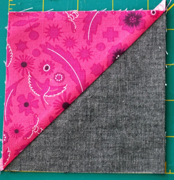 Shoofly Block Tutorial -Piece a half square triangle block to each side of a background square