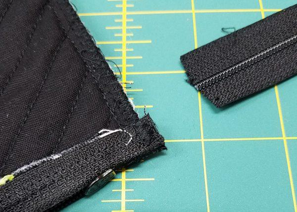 Square in a Square Zipper Bag - Cut the zipper ends off.