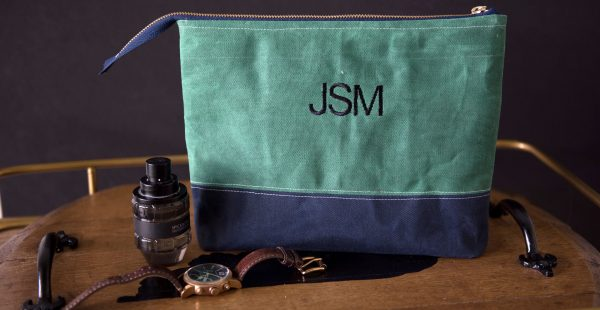 DIY Monogrammed Waxed Canvas Travel bag- a great DIY idea for a gift for a guy.. would be a fun Father's Day Gift!