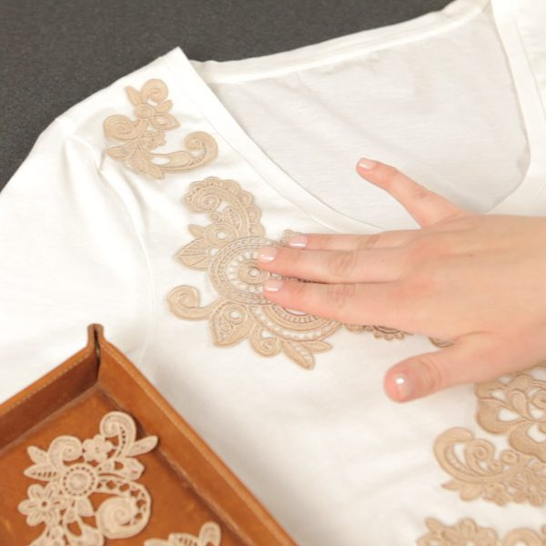 Lace Applique Tutorial-place the lace designs