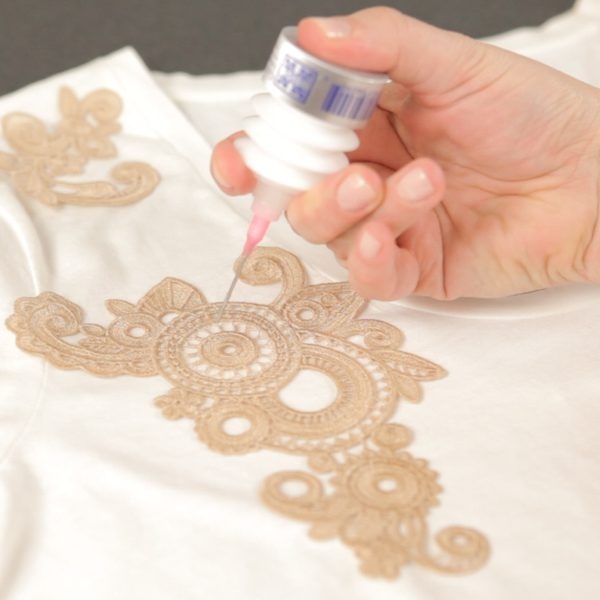 Lace Applique Tutorial-glue appliqué pieces in place