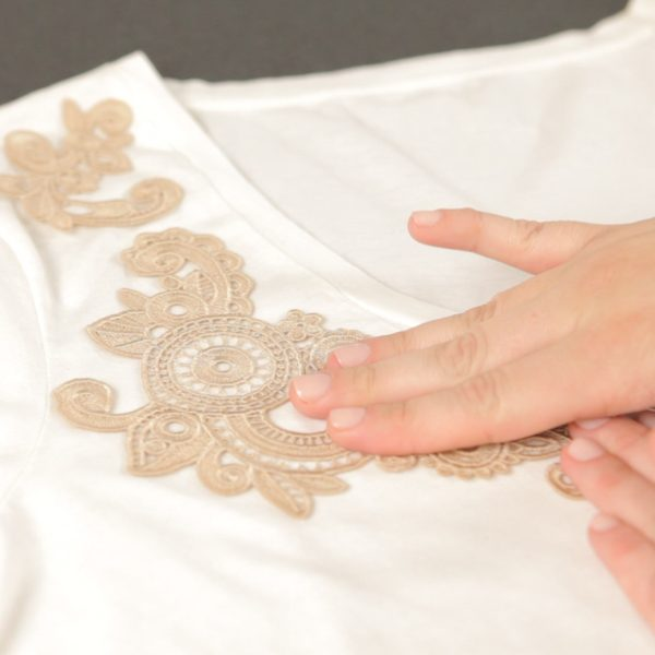 Lace Applique Tutorial - adhere the lace designs to the T-shirt