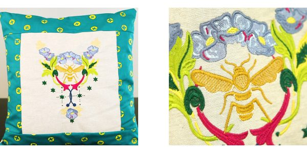 Embroidered Pillow with Alison Glass Design