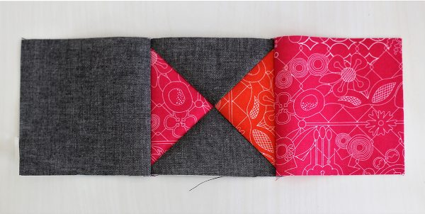 Piecing, Seam a gray square to an orange, pink and gray square unit and then this unit to a pink square
