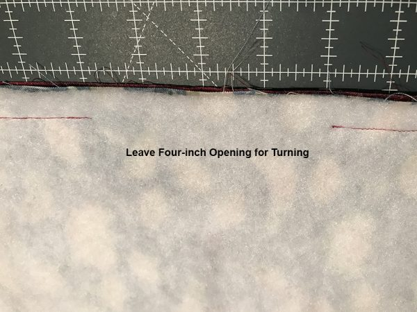 "leave a four-inch (4"") opening on the narrow sides of your fabric sandwich"