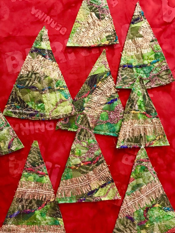 Stitched Collage Cards - Cut out tree shaped triangles