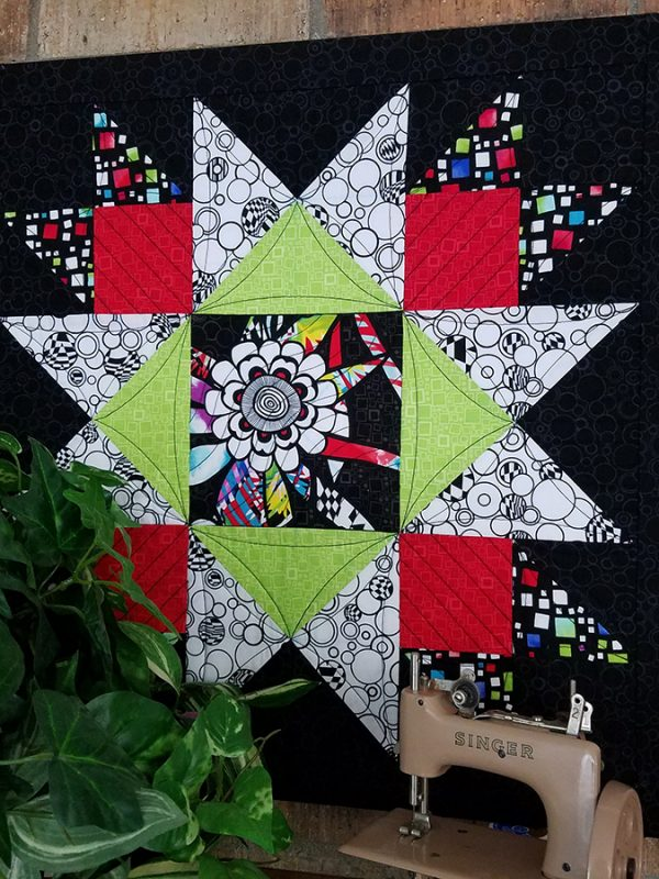 Union square quilt block framed