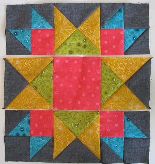 Sew the three strips together creating the Union Square Block