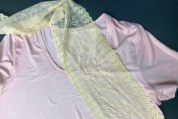 Adding lace to a t-shirt