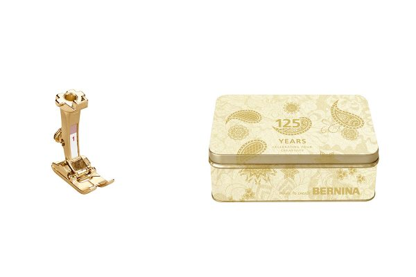 BERNINA Reverse Pattern foot #1 in gold and Anniversary Edition tin