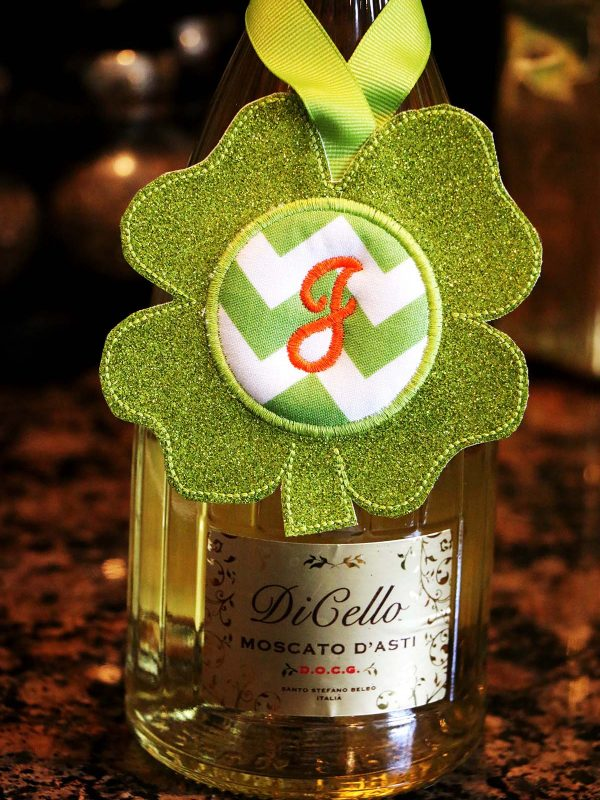 BONUS - What else can you do with the Shamrock Door Hanger In the Hoop: wine bottle tag