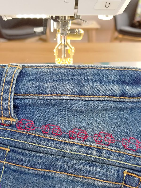 Adding decorative stitches to jeans