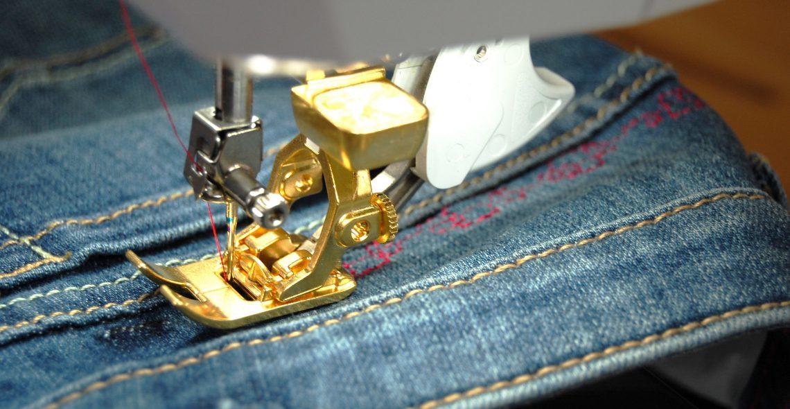 Add decorative stitches to jeans