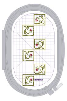 Greek Key Floral Border - large oval hoop