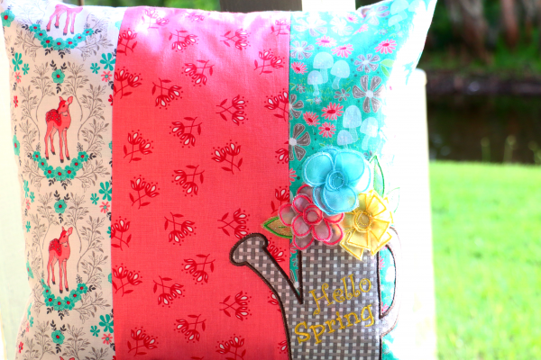 We all Sew - Hello Spring Embroidered Pillow