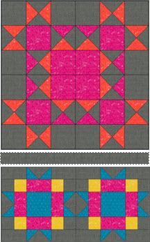 "Block of the Month - Piecing: Seam the 2"" x 24 1/2"" strip between Blocks 6 and 7"