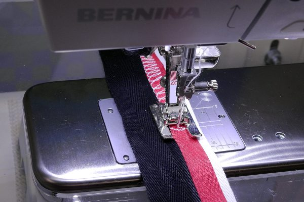 Stacked Trim Tutorial Step 6: sewing a decorative stitch on the trim.