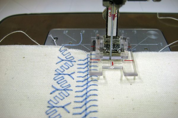 Stitching rows of decorative stitches
