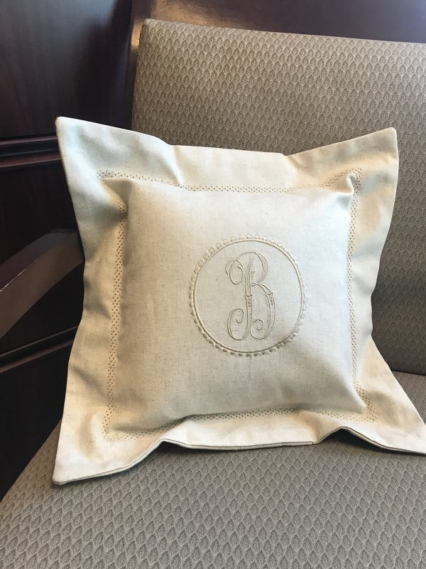 Hemstitched Embroidered Pillow