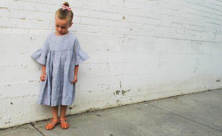 Girls gathered linen dress