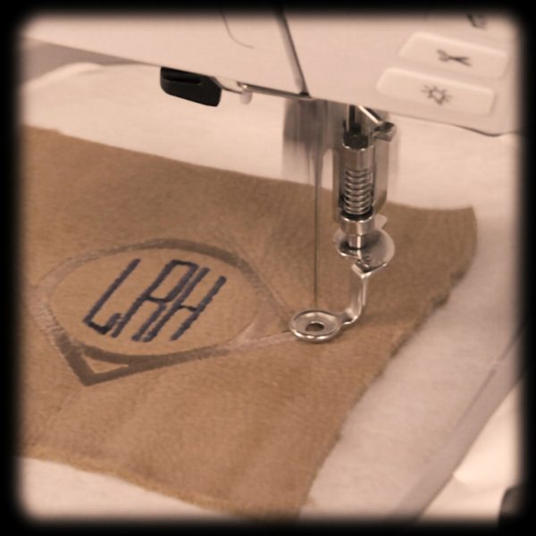 Leather Monogram Patch, stitch out