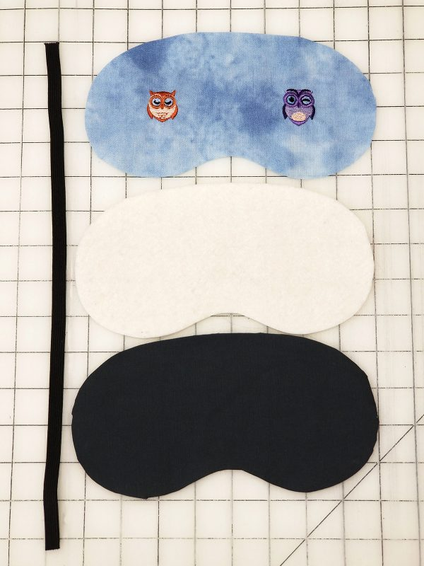 Owl Embroidered Sleep Mask - layout pieces