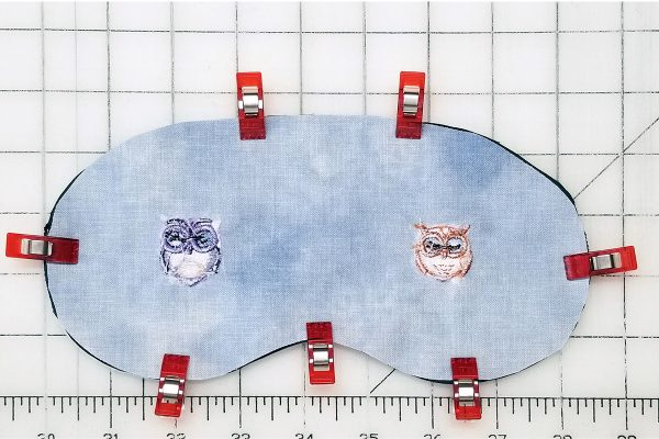 Owl Embroidered Sleep Mask - sandwich layers
