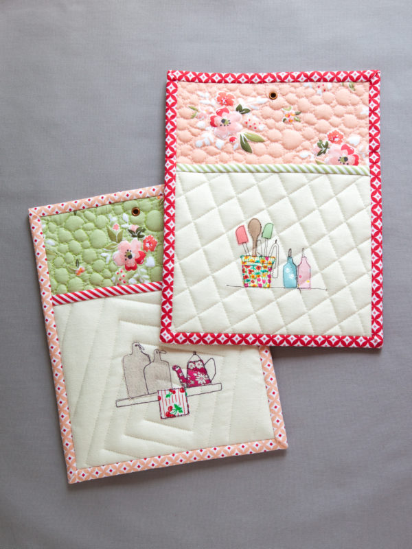"""Easy Quilted Potholders"" Free Patterns designed by Minki Kim from Minki's Work Table brought to you by We all Sew"