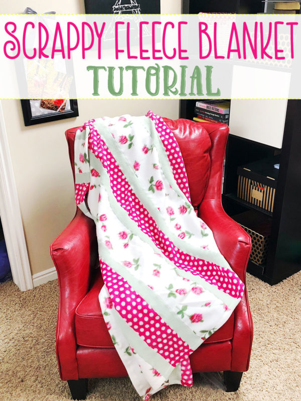 This Scrappy Fleece Blanket Tutorial is fast easy and frugal. With a few simple tools and a free evening you can make a large fleece blanket.