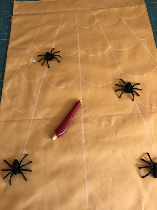 Spider Web Door Banner tutorial WeAllSew Blog - drawing the spider web