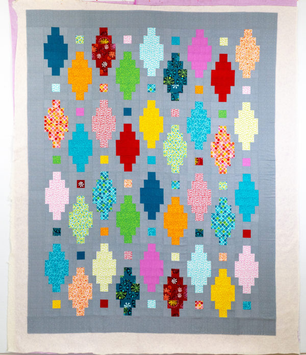 Basting Beaded Lanterns Quilt Top