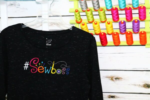 we all sew how to embroider a ladies t-shirt