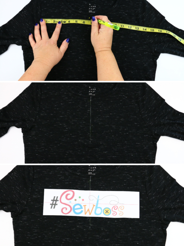 we all sew how to embroider a ladies t-shirt finding center of embroidery area