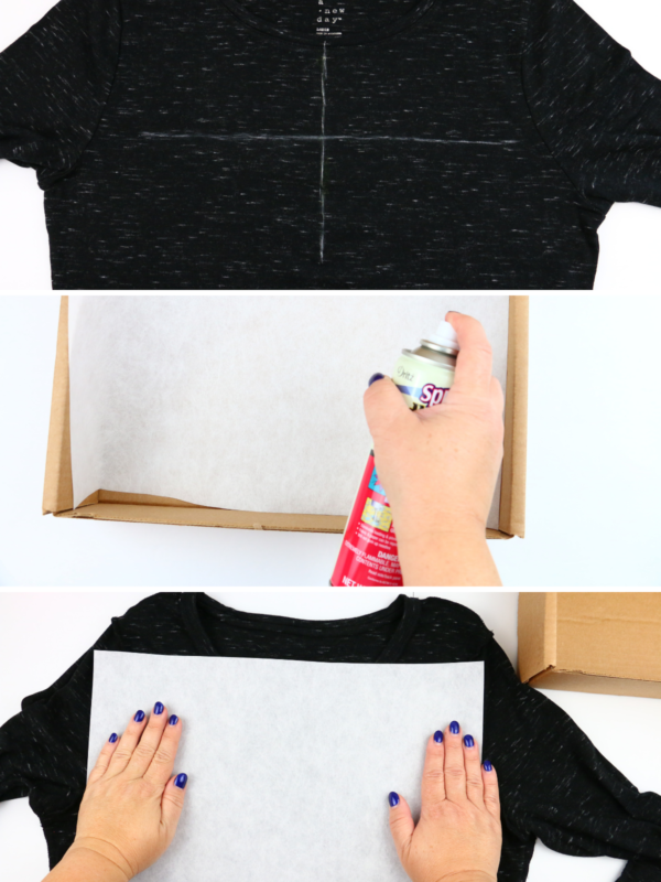 we all sew how to embroider a ladies t-shirt spray adhesive