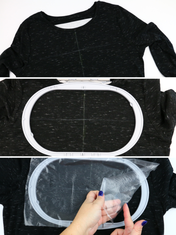 we all sew how to embroider a ladies t-shirt how to hoop and place water soulable stabilizer