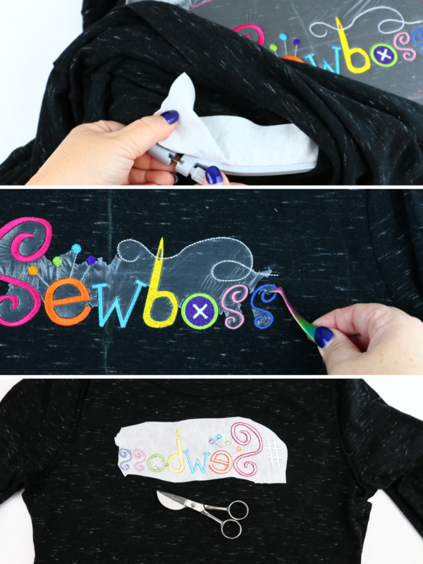 we all sew how to embroider a ladies t-shirt removing water soluble and cut away