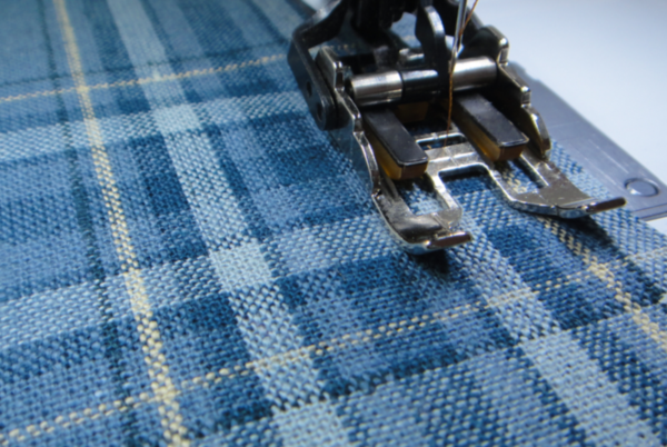 walking foot with plaid fabric