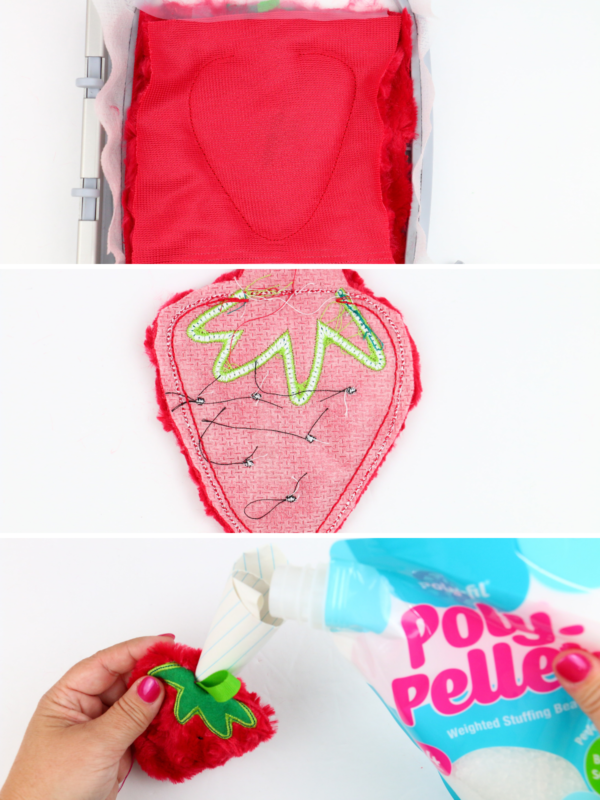 we all sew how to embroider on cuddle luxe in the hoop strawberry pin cushion